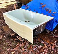"Vintage U/R Jadeite Green 60"" Cast Iron Bathtub Right Hand Drain Mid-Century"