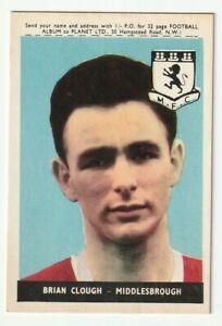 A&BC Bubble Gum Football Planet 1958 MIDDLESBROUGH Brian Clough # 5