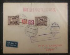 1929 Warsaw Poland Airmail Cover to Lwow LOPP Mini Airmail Stamps Lotnicza