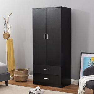 2 Door Double Wardrobe Black - Bedroom Furniture with 2 Draw Storage Cupboard