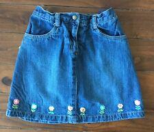 Gymboree denim jean skirt skort floral 12 EUC