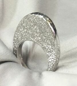 Pianegonda .925 Sterling Silver Elongated Textured Ring Size 8