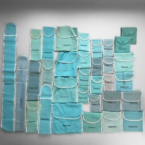 Tiffany & Co. Blue Anti Tarnish Felt Dust & Snap Pouch Jewelry Bags (Lot of 32)