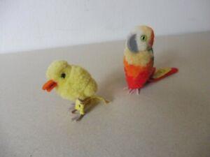Steiff Woll-Vögel, Ente und Papagei, beide mit Knopf und Fahne, top!