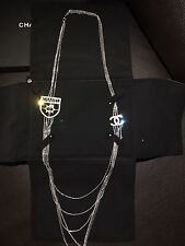 New CHANEL CC Badge Long Multi Strands Dangling Chains Pendent Charm Necklace