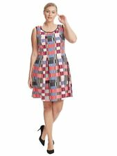 NEW YORK CLOTHING COMPANY 4th Of July Scuba Fit & Flare Illusion Dress  22W 3X