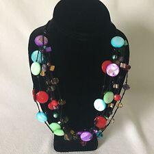 "Premier Designs Spectrum Necklace Shells Beads Glass Tiger's Eye Stone 20"""