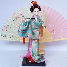9''/24cm Ancient Japanese geisha Doll Dancer Maiko w/flute Beauty Home Decor