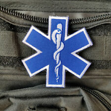 Paramedic Police Rescue Firefighter Star of Life Patch Tactical Hook Patch Blue