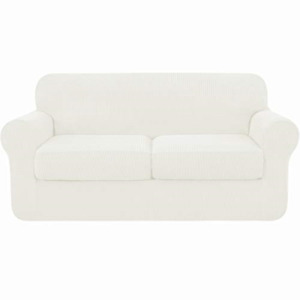 subrtex 2-Seater Sofa Cover with 2 Separate Cushion Covers, Stretch Sofa Cream