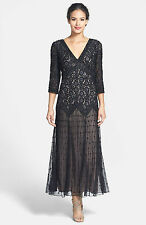 New PISARRO NIGHTS Beaded V Neck Mesh Gown Dress Black Nude 3/4 Sleeve Size 16