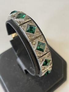 Vintage A.L.L. CO Lindroth Signed Art Deco Emerald Green Stones Paste Bracelet