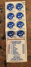 1975 Jacksonville High School Football Helmet Stickers And Schedule Sticker