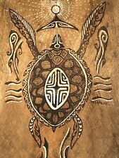 TEILJAURI WINTAGE AUSTRAILIAN ABORIGINAL TURTLE TRIBAL FOLK ART BARK PAINTING