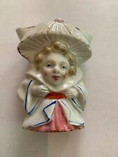Vintage Ceramic Lady Head Vase Holding Umbrella