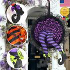 Happy Halloween Hanging Wreath Outdoor w/Legs Front Door Witch Wreath Decoration