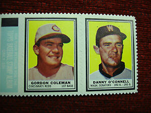 1962 TOPPS STAMP PANEL GORDON COLEMAN & DANNY O-CONNELL - WELL CENTERED & NICE!