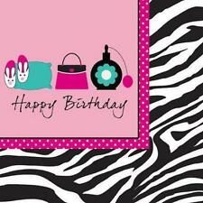 Pink Zebra Boutique Girls Birthday Party Paper Luncheon Napkins Happy Birthday