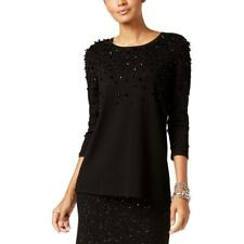 Alfani Womens Black Embellished Long Sleeves Pullover Sweater Top L BHFO 1595