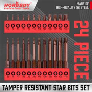 "24Pc Security Torx Bit Tamper Resistant Star Set S2 Steel 1"" & 2.3"" Long T5- T40"