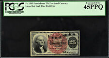25 Cents FR# 1303 Fourth Issue Fractional Currency Extremely Fine PCGS 45 PPQ