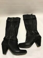 Arturo Chiang Size 8 M  Black Leather Knee High Boots Womens Double Sided Zipper