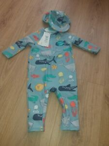 M&S Baby Boy Age 9-12 Months Blue UV Sun/Swimming Suit & Hat with Fishes/Sharks