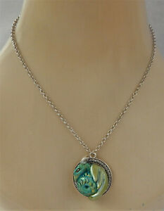 Necklace Dragon Green Pendant Jewelry Handmade NEW Hand Sculpted NEW Clay Silver