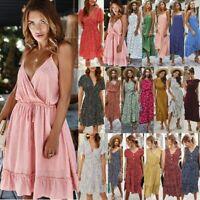 Womens Holiday Strappy Mini Maxi Dresses Sexy Summer Beach Dot Print Sun Dress