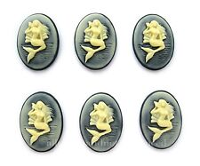 6 IVORY COLOR on Black MERMAID with a Seashell Vertical 25mm x 18mm Craft CAMEOS