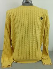 Brooks Brothers Golf Yellow Cable Knit Fisherman Sweater Mens Large L  Cotton