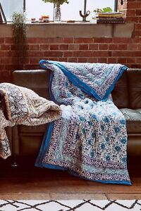 Urban Outfitters Key to Freedom Blue Floral Quilted Quilt Throw Blanket RRP £125