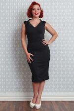 Miss Candyfloss 1950s Retro Inspired Erika Lou Black Wiggle Dress