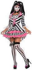 Harlequin Ring Mistress Clown Black White Pink Women's Adult Halloween Costume