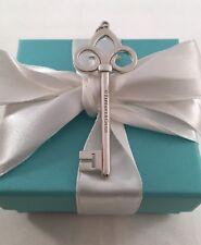 Tiffany & Co Silver LARGE XL Fleur De Lis Key Pendant, Charm. RARE, Retired