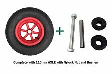 "RED SPOKED + AXLE  16"" Pneumatic Wheelbarrow Wheel Tyre 4.80 - 8 BENT VALVE"