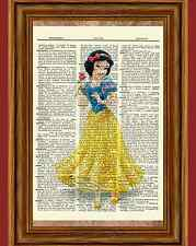 Snow White Dictionary Art Print Poster Picture Disney Princess Vintage Book