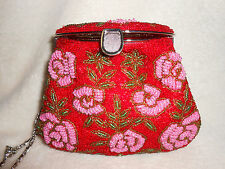 GORGEOUS BEADED SHOULDER BAG/CLUTCH/EVENING, RED/PINK/GREEN, CHAIN, STUNNING!***