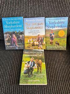 3 x Yorkshire Shepherdess Books Paperback By Amanda Owen + 1 Yorkshire Vet
