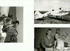 SET OF 3 - LOT #104  B&W 4X6 PHOTOGRAPHS - RACING AIRPLANES & PILOTS & AVIATION