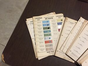CHRYSLER,DODGE,PLYMOUTH,DESOTO VINTAGE RARE PARTS PAINT CHIP SET 1955-1969 NICE!
