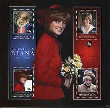 Micronesia 2011 MNH Princess Diana 1961-1997 50th Birth 4v M/S I Royalty Stamps