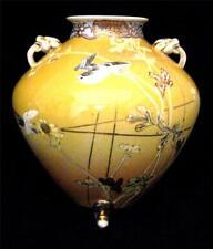 Japanese 3 Leg Vase with Faience Birds Painted on Graduated Yellow Orange Ground