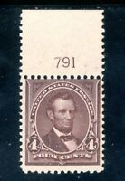 USAstamps Unused FVF US Series of 1898 Lincoln Plate # Single Scott 280 OG MHR