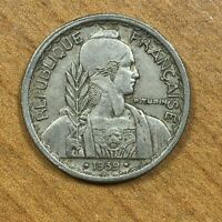 .1939.(a) French Indochina 10 Cents Copper-Nickel KM#21.2 Date between 2 Dots AU