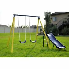 Sportspower Power Play Time Fun Metal Swing Set with Wavy Slide Kids Outdoor Toy