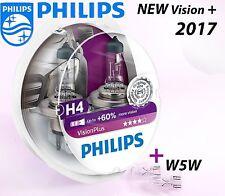 NEW Philips H4 Vision Plus 2017 +60% Headlight Bulbs 12V 55W P43t-38 +W5W T10