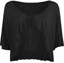 Womens Plus Lace Long Sleeve Bolero Cropped Cardigan Ladies Shrug Top 14-28 Black 14
