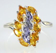 Iolite And Citrine Triple Row Ring 925 SS Sterling Silver Size 7