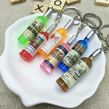 5pcs Cute Mixed Candy Mulit-color Wine Bottle Resin Alloy Keychain Keyring Gift
